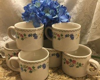 Farberware English Garden 4241 Stoneware Cups - Set of 6