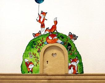 Elf door with wall decals foxes in the Woods e05