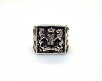 Sterling Silver Lions of Judoh 10 Commendments Signet Ring