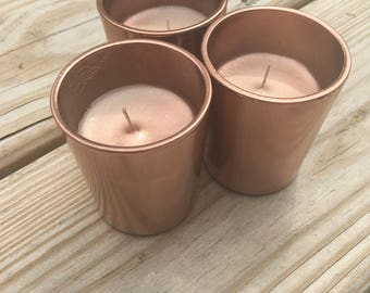 Set Of 3 Unscented Rose Gold Copper Votive Candles Wedding Home Decoration