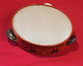 Vintage HalloweenToy Tin Tambourine.