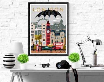 London United Kingdom England Art City Poster Print Symbols Wall Art Modern City Canvas Print Poster size A2/A3/A4