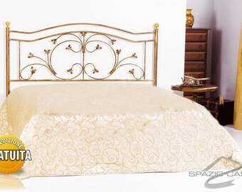 Handcrafted header/wrought iron bed headboard Leaves
