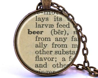 Beer Dictionary Pendant Necklace