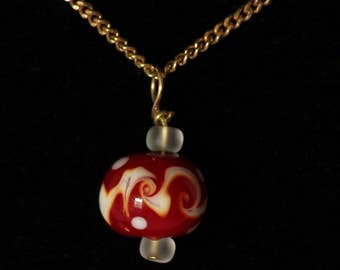 Red and White Swirled Pendant
