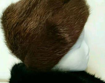Vintage Russian Brown Beaver Fur Hat