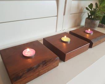Wooden tealight holders