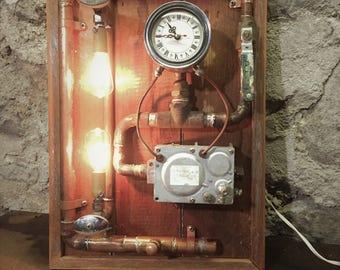 Steampunk Wall Lamp With Clock