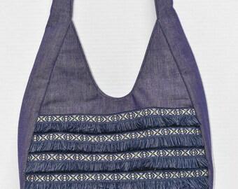 Denim and Fringe Teardrop Handbag