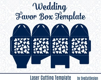 Wedding Favor Box Template Laser cutting Heart Commercial Use Candy Gift Party Box SVG Lasercut Laser Cut Silhouette Cameo die cutting files
