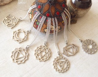 Chakra Pendant Necklace, Silver Yoga Necklace, Zen Chakra