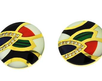 Asch Grossbardt Gemstones Inlaid 14kt Gold Earrings