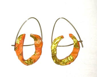 Gold orange hoop earrings fluorescent acrylic paint gold plated
