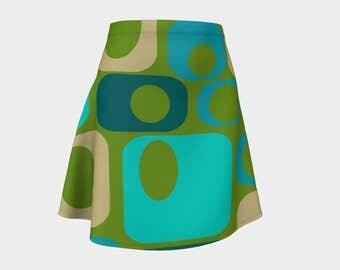 Retro, Skirt Green,Gift, For Her, Wife Gift, Womens Skirt, Gift, Geometric, Turquoise, A-Line Skirt, Womens Gift, Unique, Gift for Women