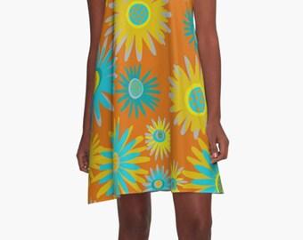 Modern A- line Dress, Loose Fitting Dress, ,Fun Dress, Summer Dress, Sleeveless Dress, Geometric Dress, Casual Dress, Cool Dress