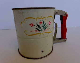 Vintage Flour Sifter Red Wooden Handle