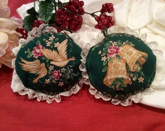 Two (2) vintage padded cloth ornaments