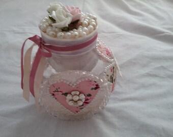 Altered jar shabby chic ornament decoration