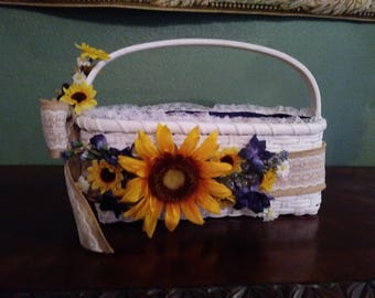 Wedding/Flower Girl Basket Sunflowers and navy blue
