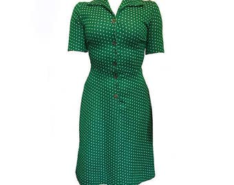 Vintage 1960's green and white polka dot dress