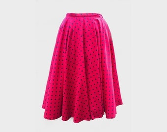 Vintage 1950's red and black polka dot circle skirt