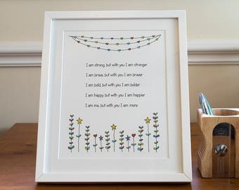 Framed love poem print