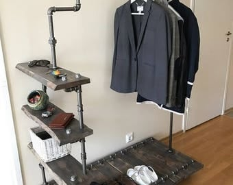 ndustrial Clothes Rack, Plumbing Pipe Clothes Rack, Clothes rack with shelves, Handmade Industrial Clothes Rail