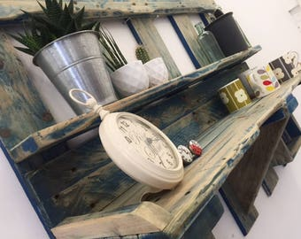 Pallet shelving unit, reclaimed wood