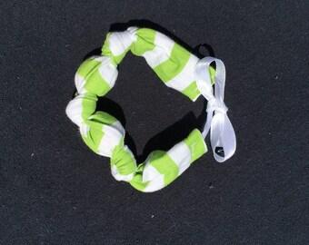 Green and white stripe bracelet