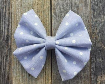 Gray|white dot bow