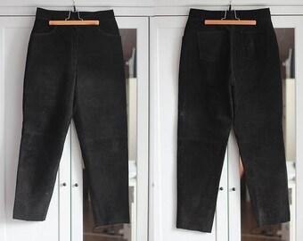 Black Suede Leather Pants Hippie Boho High Waist Genuine Leather
