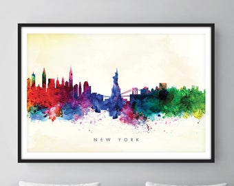 New York Skyline, NYC Cityscape, Art Print, Wall Art, Watercolor, Watercolour Art Decor [SWNYC04]