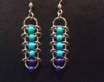 Berry Blues Centipede Chainmaille Earrings, Stainless Steel.