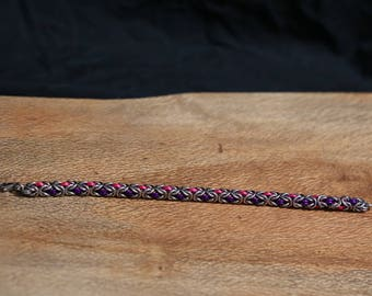 Stainless Steel Byzantine with Pink and Purple Anodised Aluminium, Handmade Unique Chainmaille.