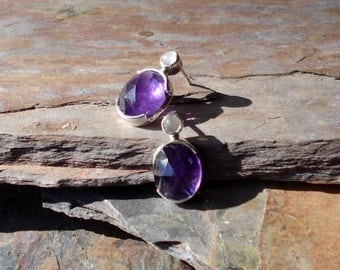 Amethyst and Moonstone Earstuds - Solid Silver Earrings - Sterling Silver - Semi Precious Earrings - Amethyst Earrings - February Birthstone