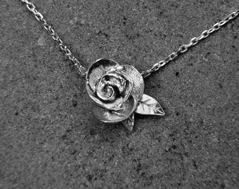 Solid Silver Rose Pendant - Sterling Silver Necklace - Flower Pendant - Handmade Necklace - Nature Lovers Jewellery - Delicate Necklace