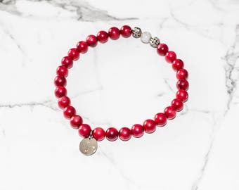 Red Coral - hand crafted, one of a kind beaded bracelet