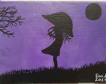 "5"" × 7"" Small Canvas Panel Girl with Umbrella Acrylic Painting"