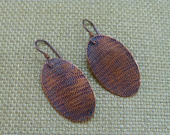 Textured copper oval dangle earrings, oxidized copper drop earrings