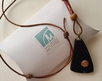 Irish Bog Oak Jewellery, Bog oak Pendant, Copper Jewellery,Irish Designer Jewellery,Wooden Jewellery,Gift for her, Patinated Jewellery.