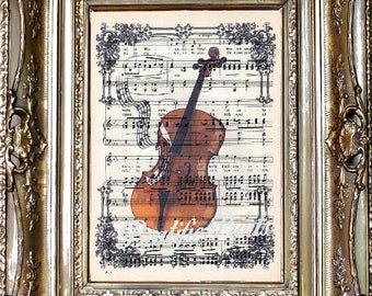 Cello Dictionary Art Print, Cello Sheet Music Art Print, Vintage Paper Print, Dictionary Art, Cellist Gift, Musician Gift, Music Gift