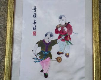 Vintage Japanese silk embroidered Tapestry of kids playing