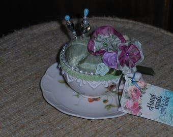 Teacup pincushion in Sage Green