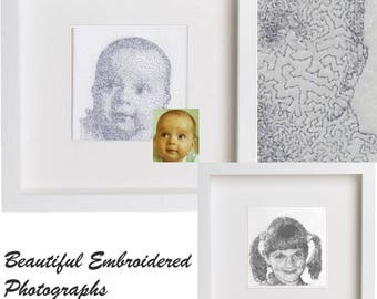 Embroidered Photograph, portait, baby gift, birthday