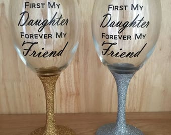 Glittered glass with quote
