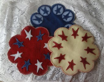 Patriotic candle mats, felt centerpiece, Summer Gift