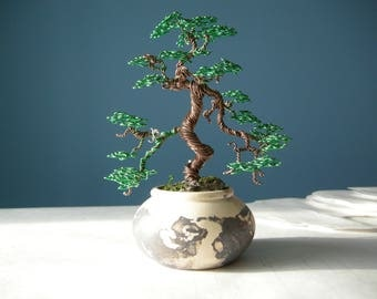 Wire Tree, Bonsai Wire, Informal upright Bonsai style (Moyogi), Gift for her, Gift coworker, Office decor