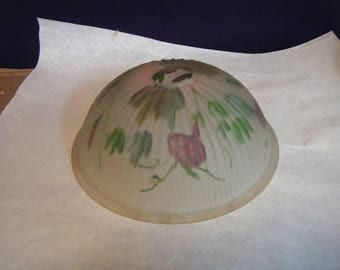 Lamp Shade hand painted floral and leaves inside. frosted ribbed outside