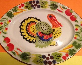 Vintage Thanksgiving Enamelware Turkey Platter Hong Kong 1950s 1960