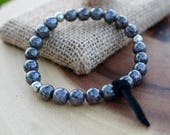 Grey Larvikite Beaded Elastic Bracelet with Black Leather Tie
